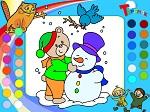 "Раскраска ""Медвежонок и снеговик"""