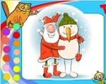 """Новогодняя раскраска """"Дедушка Мороз и Снеговик"""""""