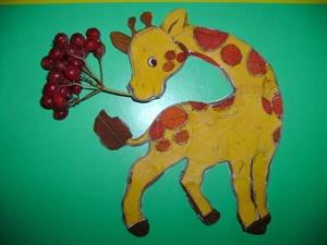 """фото аппликации из листьев """"Жираф"""""""