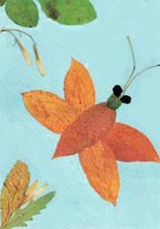 """фото аппликации из листьев """"Бабочка"""""""